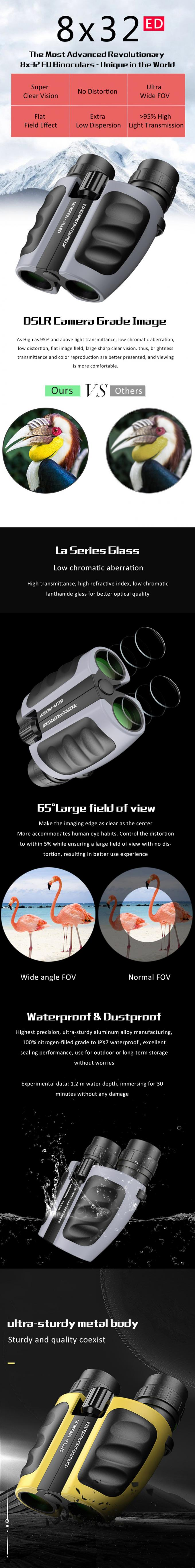 Anti - Porro 8x32 ED Binoculars For Hunting Camping , High Powered Binoculars